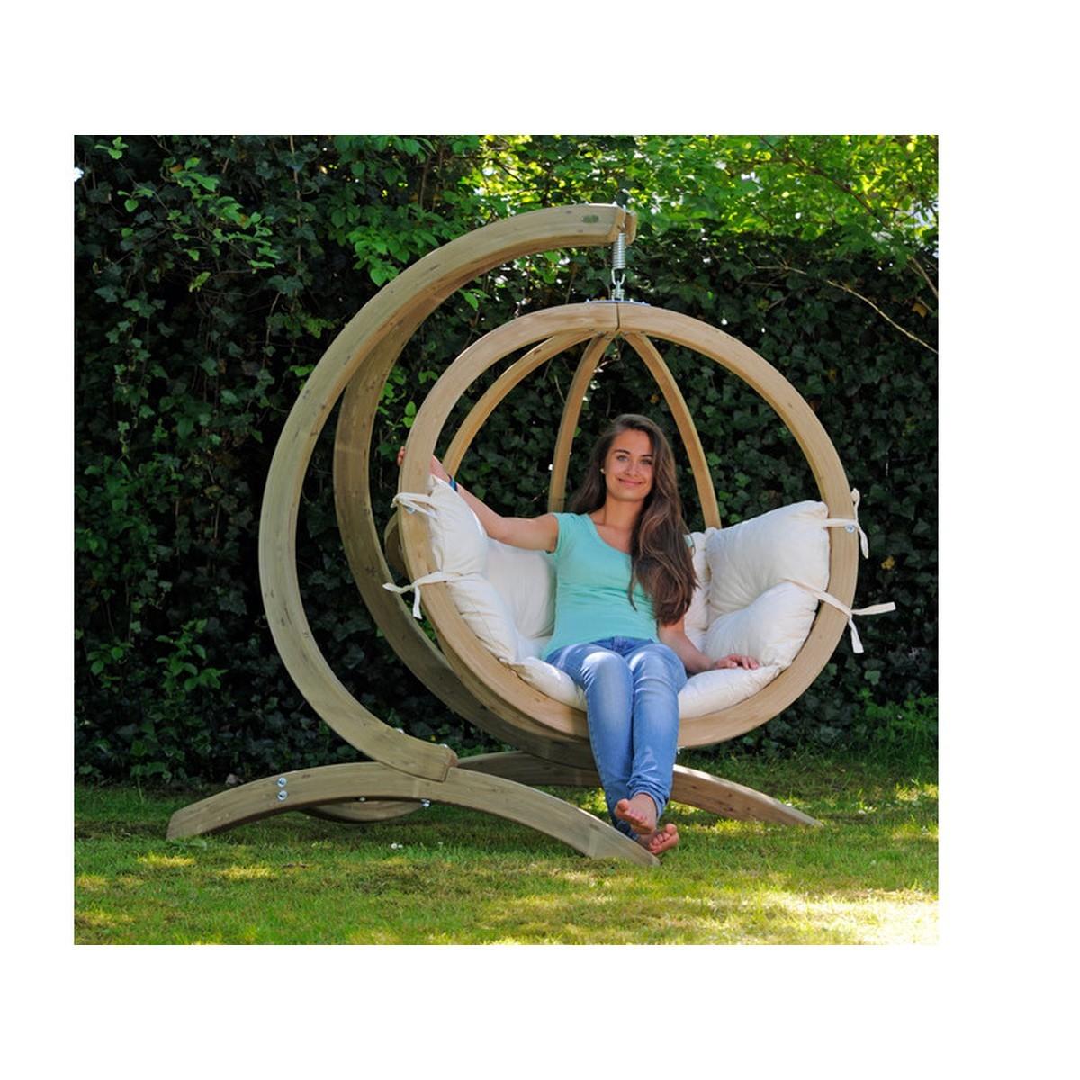 amazonas fauteuil suspendu globo chair natura avec support bois. Black Bedroom Furniture Sets. Home Design Ideas