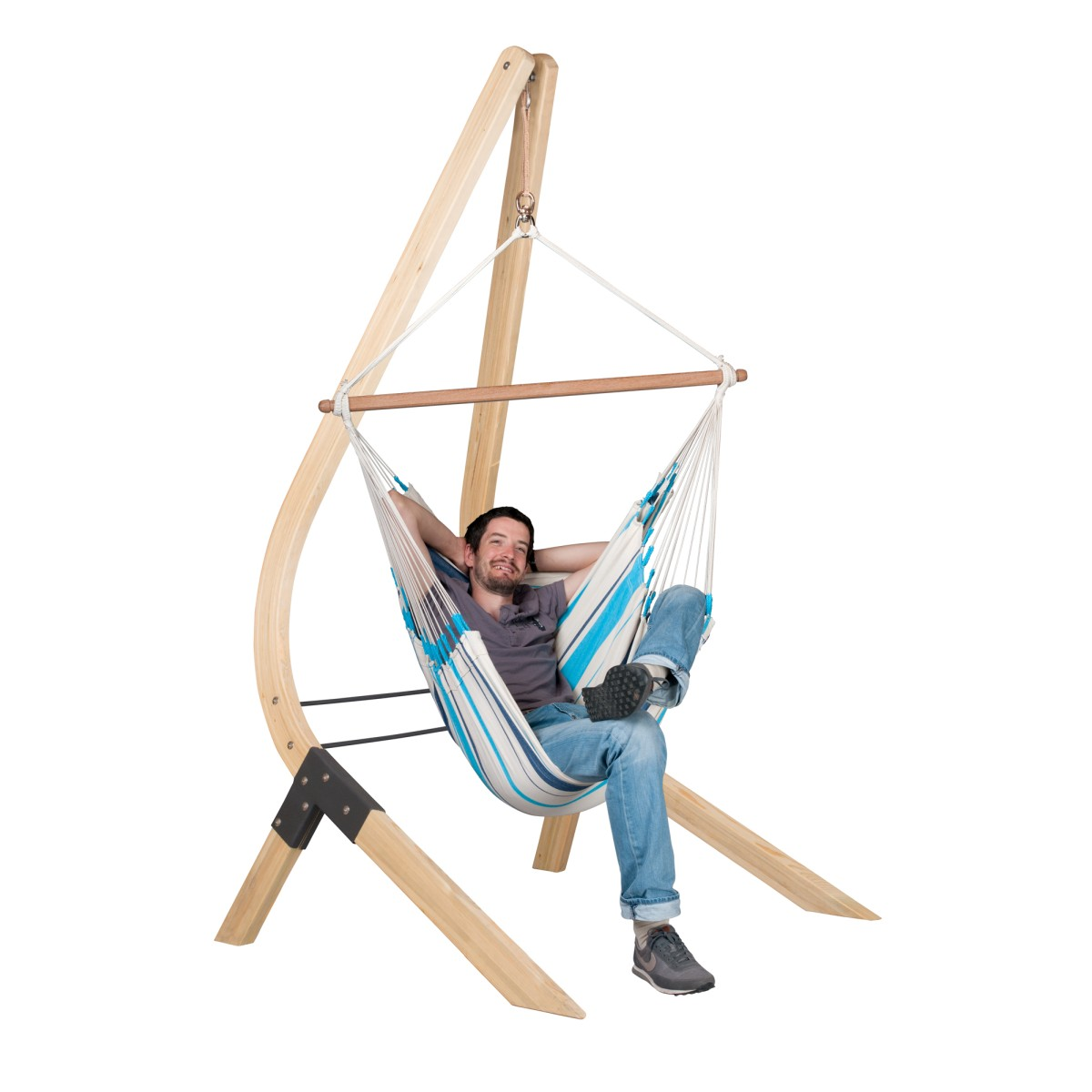 la siesta chaise hamac basic caribe a aqua blue support en bois. Black Bedroom Furniture Sets. Home Design Ideas