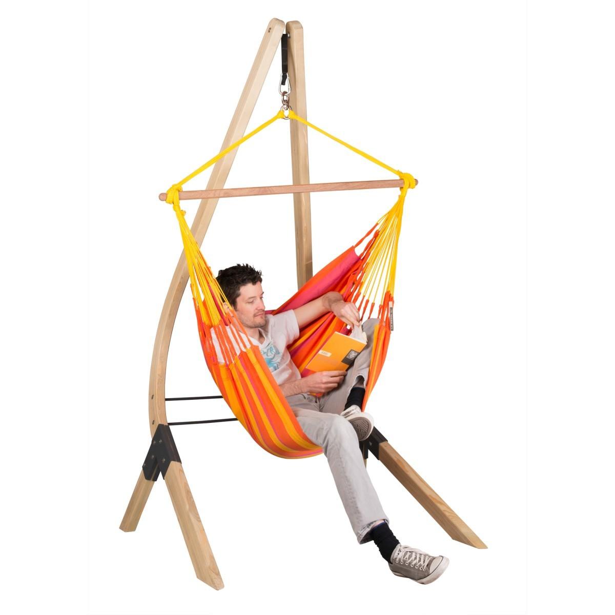 la siesta chaise hamac basic sonrisa mandarine support en bois vela. Black Bedroom Furniture Sets. Home Design Ideas