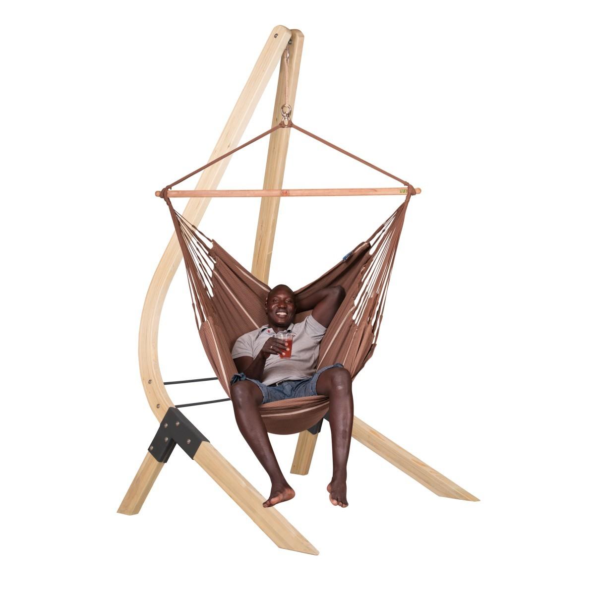 la siesta chaise hamac lounger habana chocolate support en bois vela. Black Bedroom Furniture Sets. Home Design Ideas